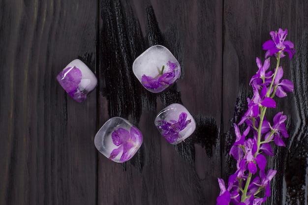 Lila blumen in eiswürfeln auf schwarzem holzhintergrund eingefroren.