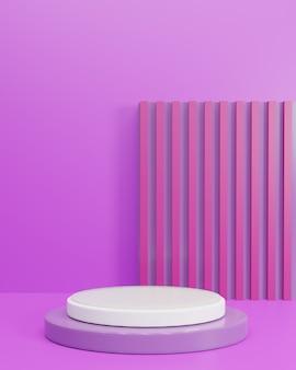 Lila geometrischer formhintergrund. weiße podium minimalistische szene