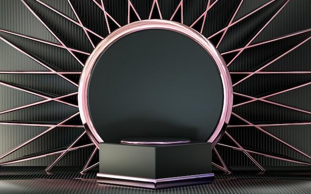 Lila metallisches podiumsdisplay mit abstrakter geometrischer form für die produktpräsentation 3d-rendering