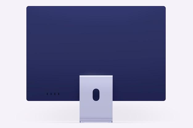 Lila minimales computer-desktop-digitalgerät mit designraum