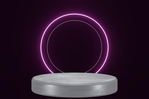 Lila neonlicht produkt hintergrund bühne oder podest auf schwarzem isoliertem hintergrund 3d