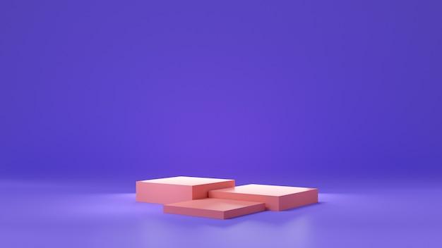 Lila oder violettes farbverlaufsstudio und rosa sockeldisplay für produktregal. innenarchitektur des leeren raumes mit podium für werbung. 3d-rendering.
