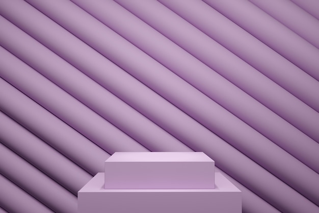 Lila pastellfarben-bühnenmock-up-linie stapelhintergrund für kopierraum 3d-rendering. minimales ideenkonzeptdesign.