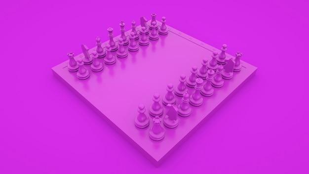 Lila schachkonzept der geschäftsstrategie und des taktischen kampfes