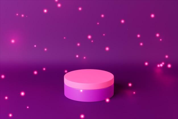 Lila zylinder podest oder sockel für produkte mit lichtpartikeln. 3d-rendering im minimalstil.