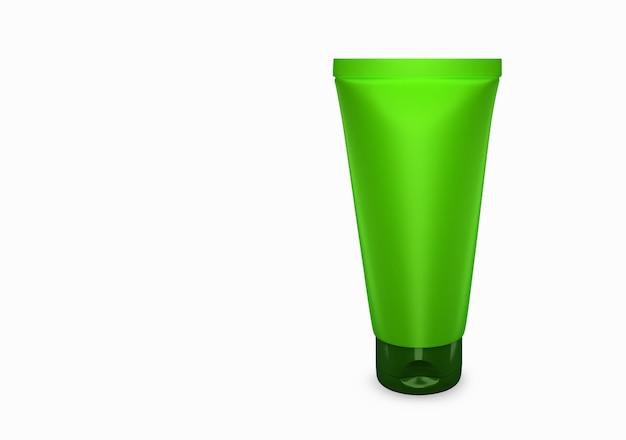 Lime scrub tube mockup vom hintergrund isoliert: scrub tube package design. leere hygiene-, medizin-, körper- oder gesichtspflegevorlage. 3d-darstellung