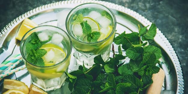 Limette und minze trinken. selektiver fokus lebensmittel.