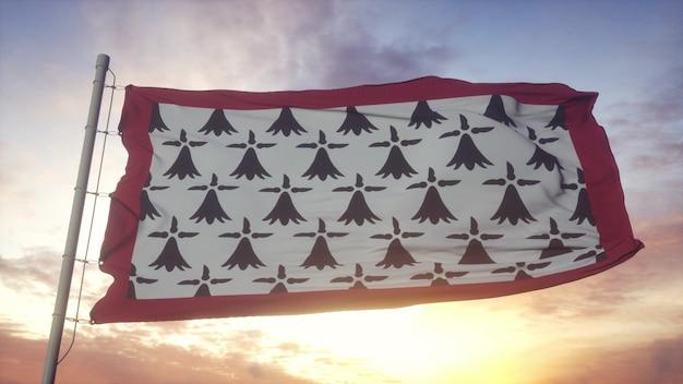 Limousin-flagge, frankreich, weht im wind-, himmels- und sonnenhintergrund. 3d-rendering