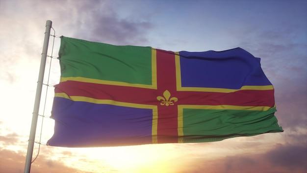 Lincolnshire-flagge, england, weht im wind-, himmels- und sonnenhintergrund. 3d-rendering