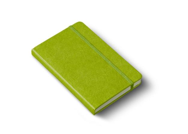 Lindgrünes geschlossenes notizbuchmodell isoliert auf weiß