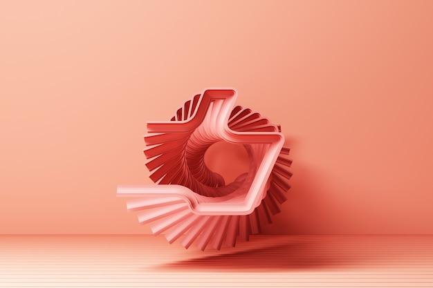 Linearer umriss rosa daumen hoch symbol mit rosa 3d-darstellung