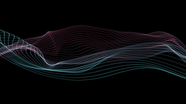 Linien hintergrund. abstrakte linie. streifenmuster, curve neon-element. dynamische kulisse. präsentation cover.isolated auf schwarz. rosa und blaue farbe.