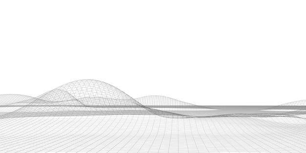 Linien strukturieren futuristische geometrie des digitalen gitters cyberspace-partikelmodell entlang des schnittpfades