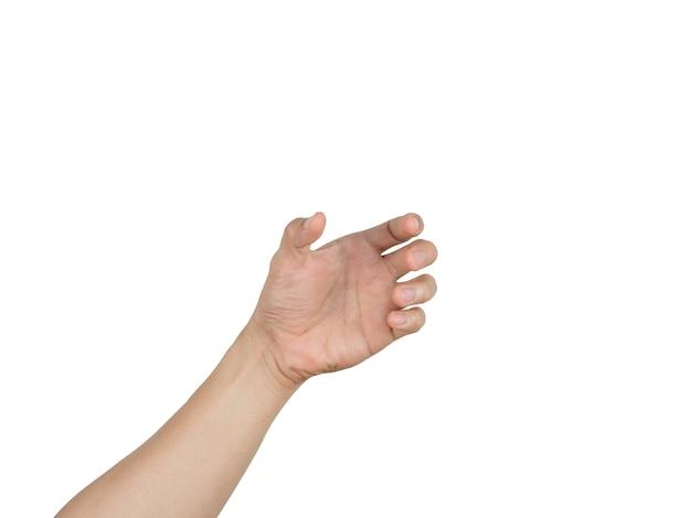 Linke hand leerer fangartikel auf weißem isoliertem hintergrund