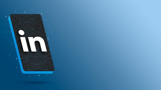 Linkedin-logo auf dem 3d-rendering des technologischen telefons