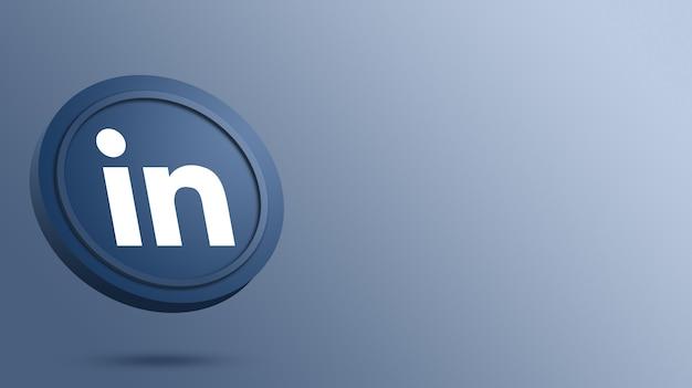 Linkedin-logo auf dem runden button-rendering