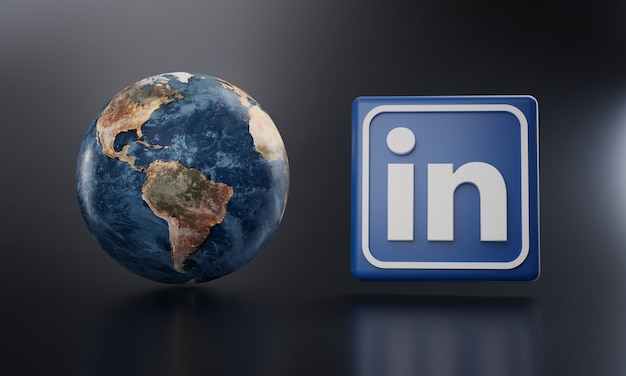 Linkedin logo neben earth 3d rendering.