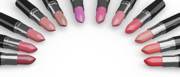Lippenstifte verschiedener farben angeordnet in einem halbkreis auf weißem hintergrund.