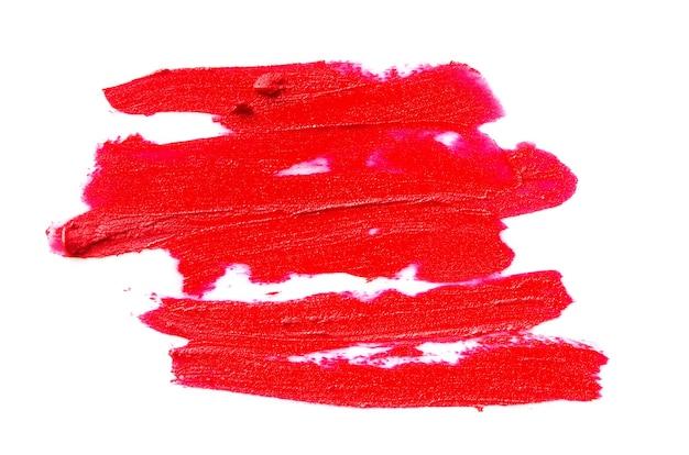 Lippenstiftstrich lokalisiert auf weißem hintergrundbild