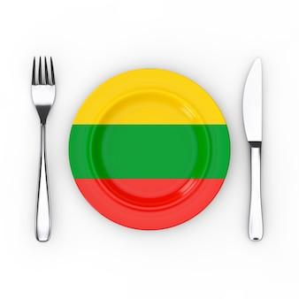 Litauen essen oder küche konzept. gabel, messer und teller mit litauen-flagge auf weißem hintergrund. 3d-rendering
