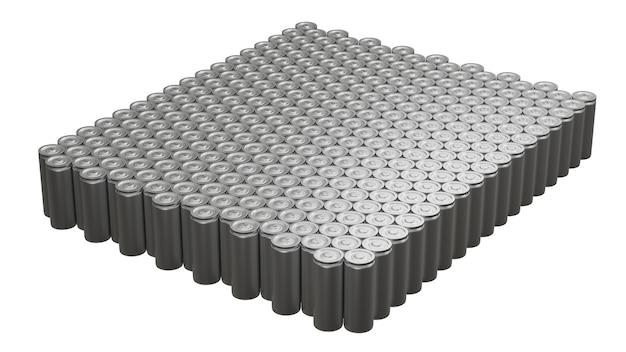 Lithium-ionen-batteriemodul rotiert auf weißem hintergrund, herstellung von li-ionen-packs für elektrofahrzeuge (ev), 3d-rendering-industriefahrzeugtechnologie nahtlose schleife
