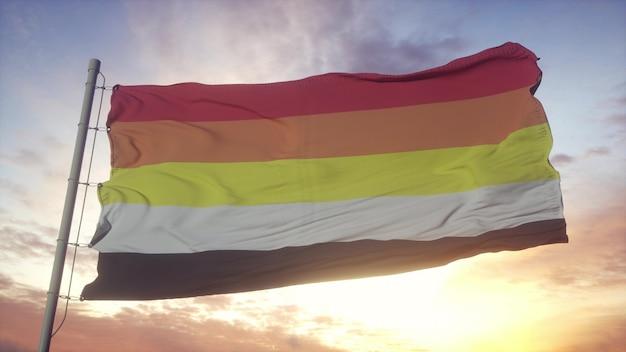 Lithsexuelle stolzflagge, die im wind-, himmels- und sonnenhintergrund weht. 3d-rendering