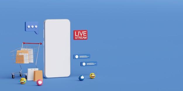 Live-streaming in sozialen medien zum verkaufen oder einkaufen auf dem smartphone