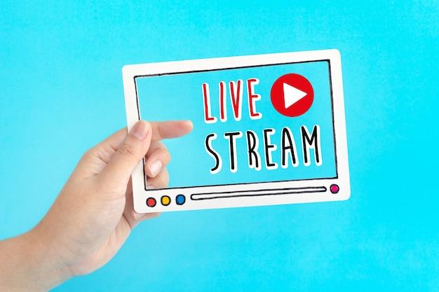 Live-streaming-text auf blauem hintergrund