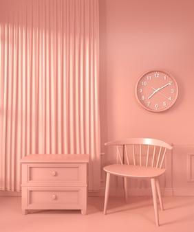 Living coral room inetrior mit sofa und dekorfarbe living coral style. 3d-rendering