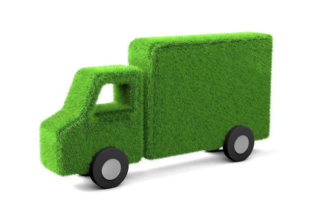 Lkw aus gras. elektro-lkw mit erneuerbarer energie. isoliert auf weißem hintergrund. 3d rendern.