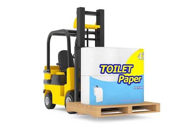 Loader lift toilettenpapierpaket auf weißem hintergrund