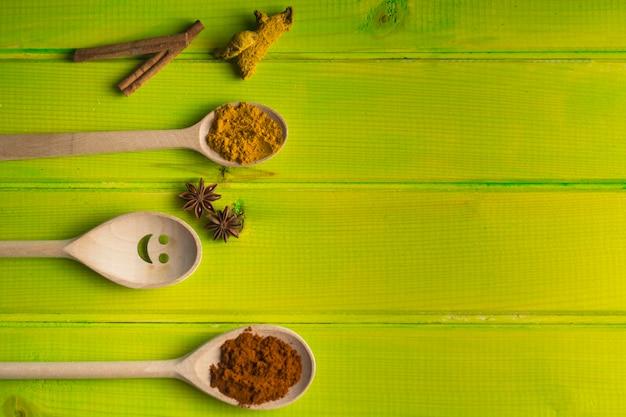 Löffel und gewürze auf grüner tischplatte