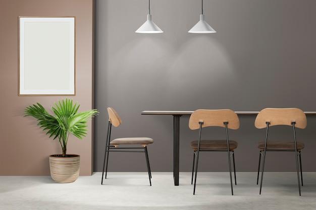Loft authentisches esszimmer-innendesign mit einem leeren bilderrahmen