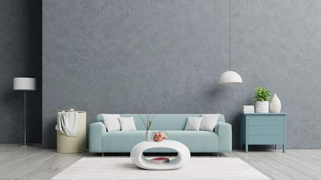 Loft-haus mit sofa und accessoires im zimmer.