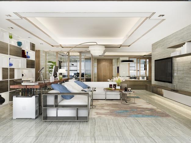 Loft-luxus-wohnzimmer mit bücherregal in der nähe des esstisches
