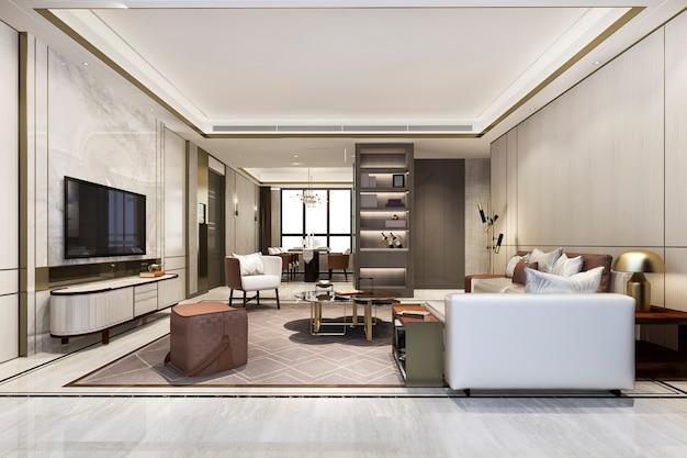 Loft luxus wohnzimmer mit bücherregal in der nähe von esstisch