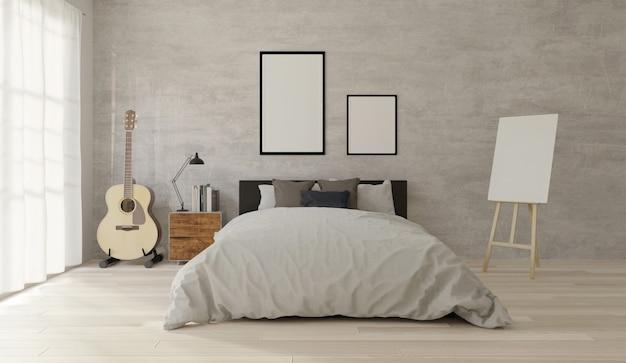 Loft-stil schlafzimmer mit beton, holzboden, großes fenster, gitarre