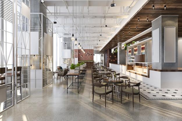 Loft- und luxushotelrezeption sowie café-lounge-restaurant