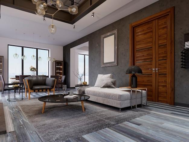 Loft-wohnung mit wohnzimmer und esszimmer. 3d-rendering.