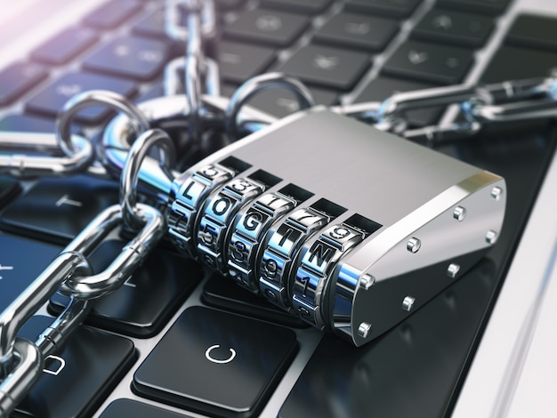 Login computersicherheit oder sicherheit laptop-tastatur mit schloss und kette