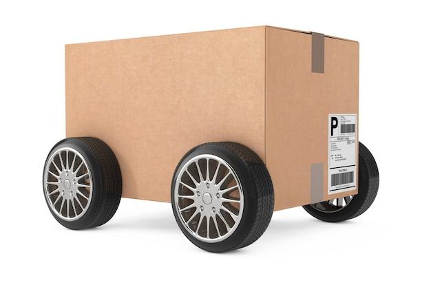 Logistik-, versand- und lieferkonzept. karton-paket-box mit rädern auf weißem hintergrund. 3d-rendering