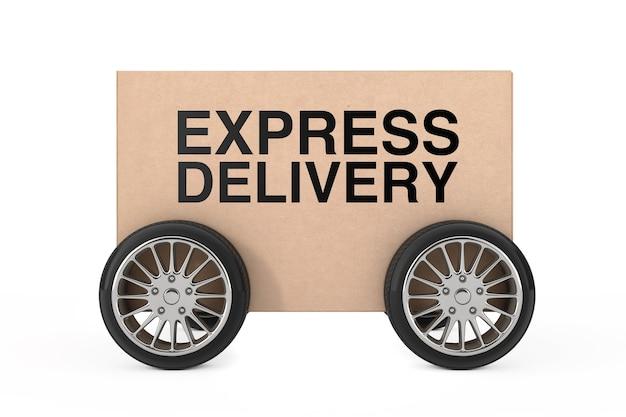 Logistik-, versand- und lieferkonzept. karton-paket-box mit rädern und express-lieferung zeichen auf weißem hintergrund. 3d-rendering