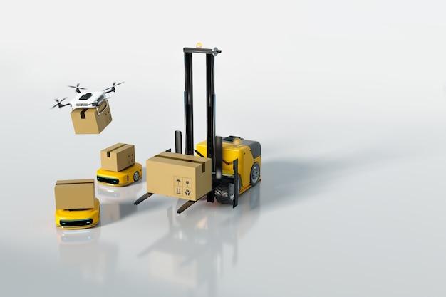 Logistikdienstleister und transport im lager und in der auslieferung, 3d-darstellungs-rendering