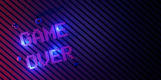 Logo game over neon laser color alphabet glow effect spaß und fröhliche 3d-illustration
