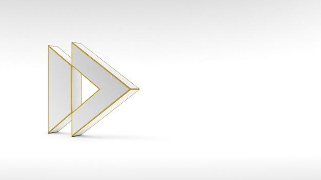 Logo-pfeilknopf auf weißem hintergrund mit goldrand und weichen schatten. 3d-rendering.