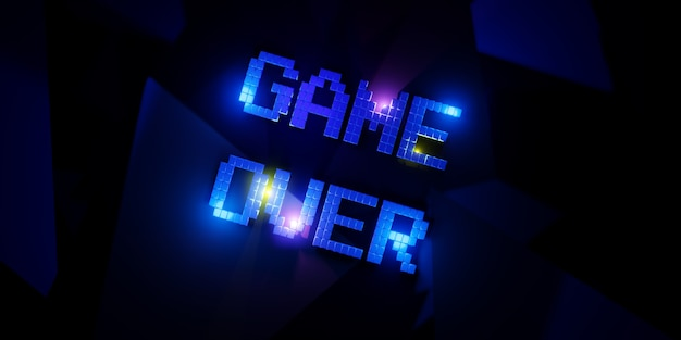 Logo-spiel über neon laser farbe alphabet glow-effekt spaß und freudige 3d-illustration