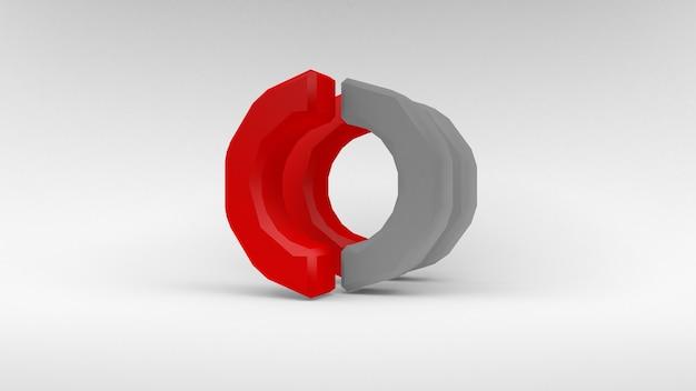 Logo weiß-roter ring von zwei hälften auf weißer oberfläche