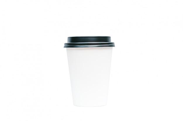 Lokalisierte kaffeetasse mit einem mitnehmerlebensmittelkonzept des schwarzen deckels.