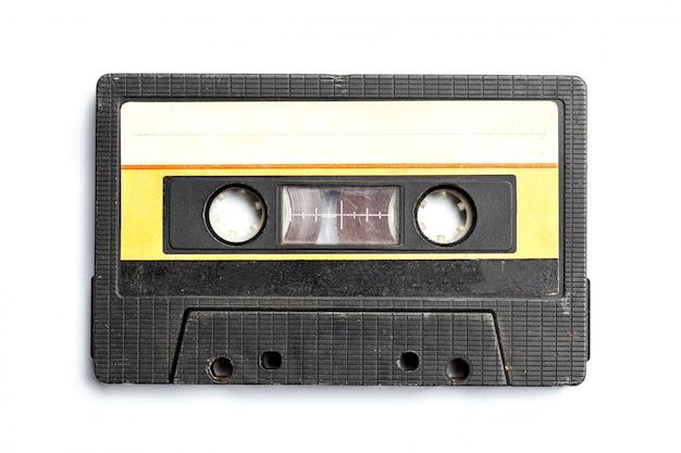 Lokalisierter weißer hintergrund der weinlese kassette