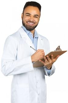 Lokalisiertes weiß schwarzen doktors des afroamerikaners mann